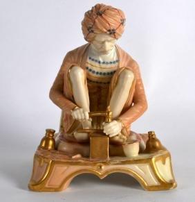 A RARE ROYAL WORCESTER FIGURE OF AN INDIAN CRAFTSMAN