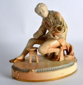 A RARE ROYAL WORCESTER FIGURE OF THE DECORATOR C1902