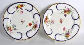 19th c. Derby Sevres style pair of plates painted by