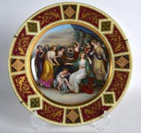 A 19TH CENTURY VIENNA PORCELAIN CABINET PLATE painted