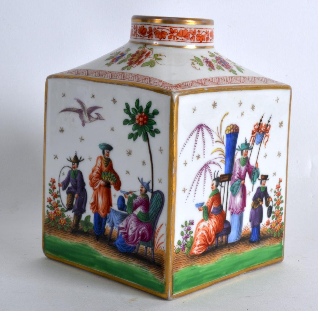 A MID 19TH CENTURY FRENCH PORCELAIN SQUARE FORM TEA