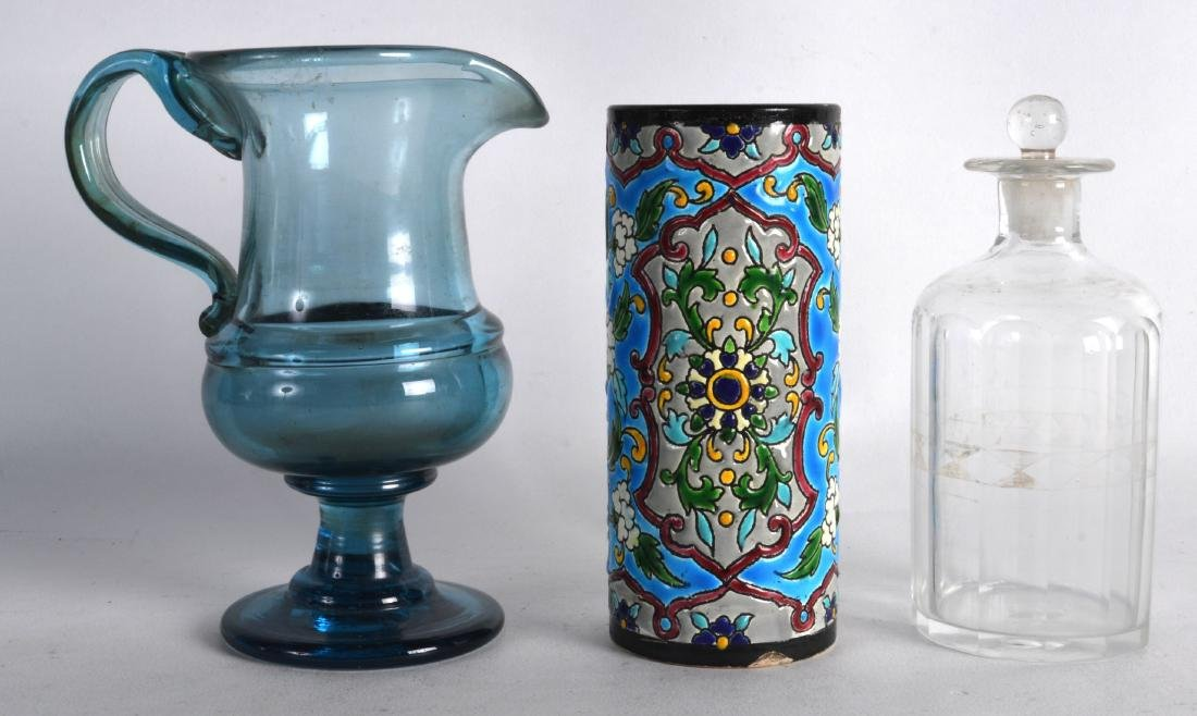 A GEORGE III BLUE GLASS JUG together with another jar &