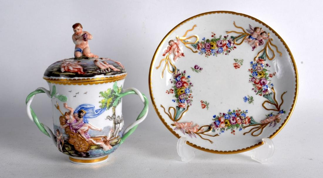 AN 18TH/19TH CENTURY EUROPEAN TWIN HANDLED CUP AND