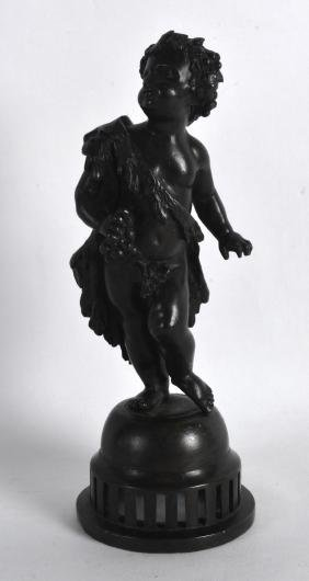 A 19TH CENTURY FRENCH BRONZE FIGURE OF A PUTTI modelled