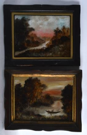 A PAIR OF EARLY 20TH CENTURY REVERSE PAINTED PICTURES