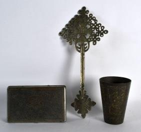 A 19TH CENTURY INDIAN BRONZE BEAKER together with an