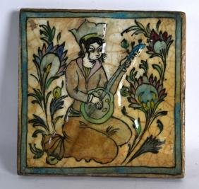 A PERSIAN SQUARE FORM POTTERY TILE painted with a