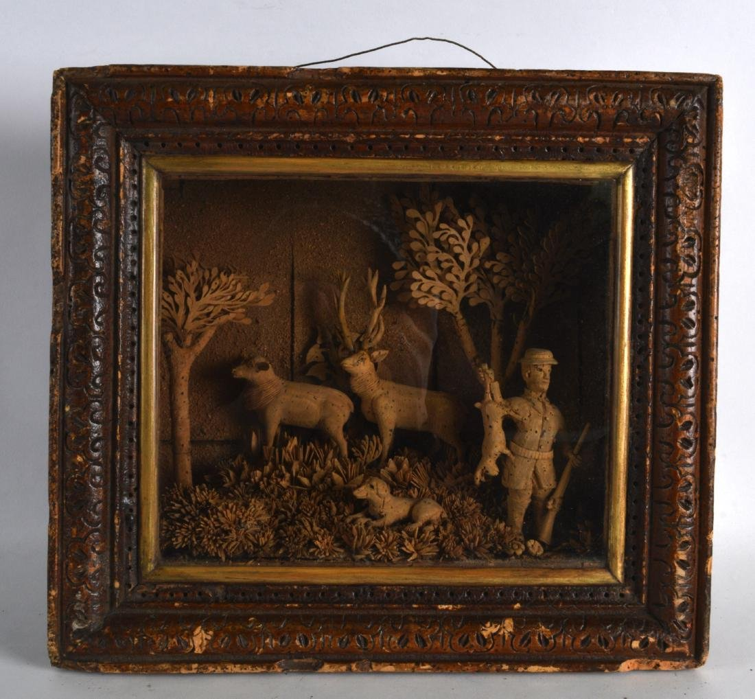 AN UNUSUAL LARGE 19TH CENTURY CARVED CORK DIORAMA in
