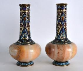 A LOVELY PAIR OF 19TH CENTURY FRENCH CHAMPLEVE ENAMEL