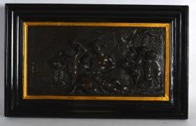 A FRAMED 19TH CENTURY FRENCH BRONZE PANEL depicting a