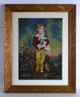 A FRAMED CANADIAN NEEDLEWORK STUDY OF A YOUNG BOY