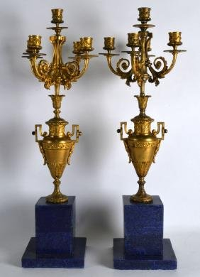A PAIR OF FRENCH LOUIS XV STYLE ORMOLU AND LAPIS LAZULI