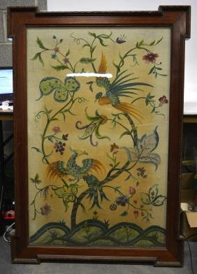 A VERY LARGE VICTORIAN MAHOGANY FRAMED EMBROIDERY