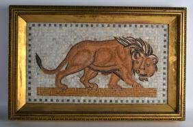 A LARGE ITALIAN FRAMED MARBLE MOSAIC PANEL depicting a