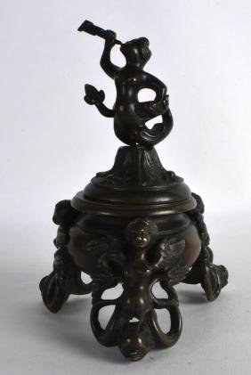 A 19TH CENTURY ITALIAN GRAND TOUR BRONZE INKWELL AND