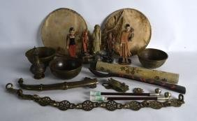 A GROUP OF MISC ITEMS including a Chinese soapstone