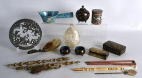 A GROUP OF MISC ITEMS including a cloisonne jar, a