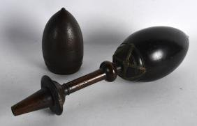 AN 18TH/19TH CENTURY NORTH INDIAN CARVED COCONUT FLASK