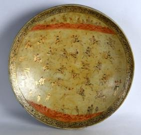 A 19TH CENTURY PERSIAN LACQUERED WOODEN BOWL painted