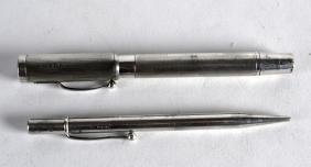 AN ENGLISH HALLMARKED SILVER FOUNTAIN PEN together with