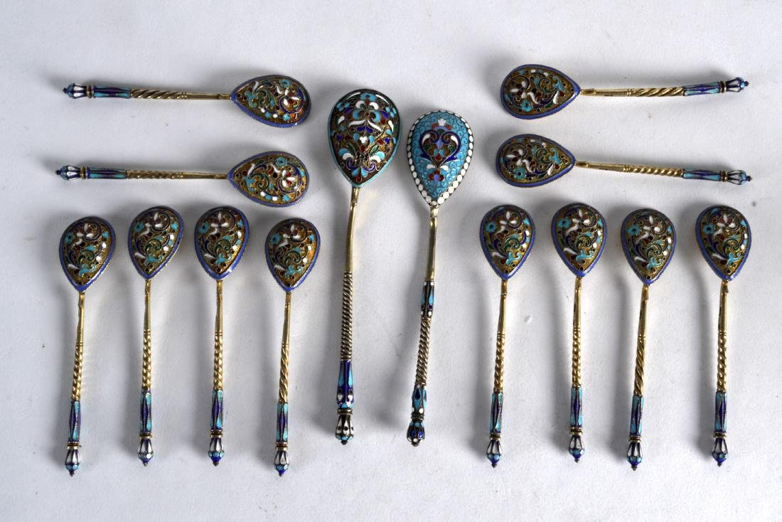 A LOVELY SET OF TWELVE LATE 19TH CENTURY RUSSIAN