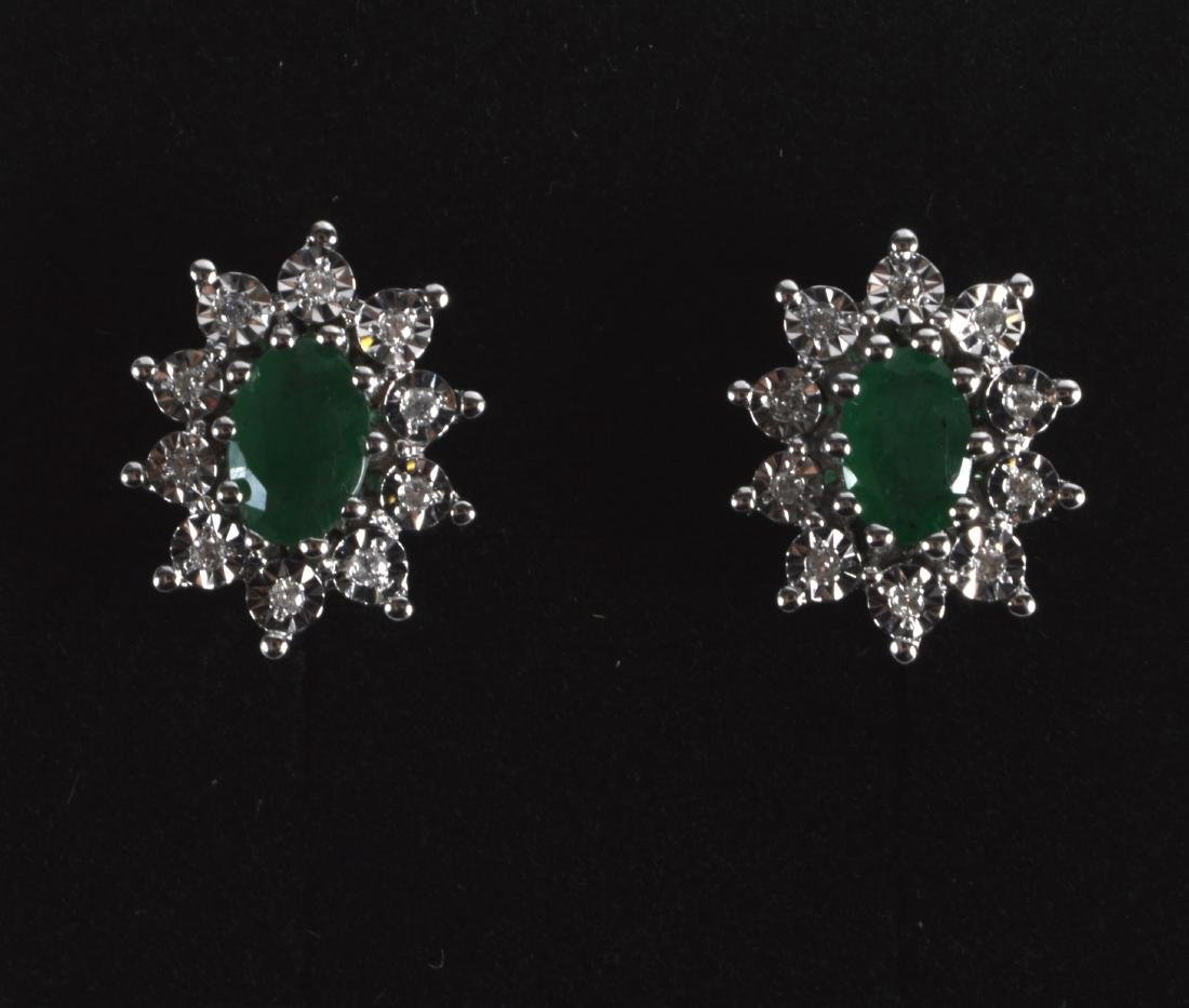 A PAIR OF 9CT GOLD EMERALD AND DIAMOND CLUSTER