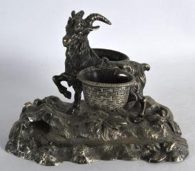 A 19TH CENTURY CONTINENTAL SILVER PLATED TWIN INKWELL