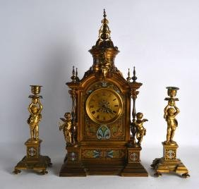 A FINE LARGE 19TH CENTURY FRENCH ORMOLU AND CHAMPLEVE