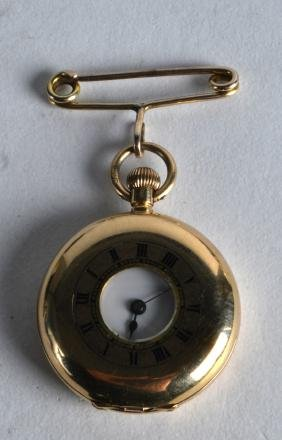 AN EDWARDIAN 18CT YELLOW GOLD FOB WATCH with white