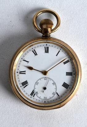 AN ANTIQUE YELLOW METAL GENTLEMANS POCKET WATCH with