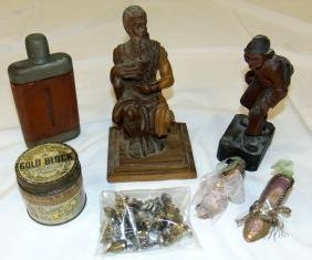 TWO CARVED WOODEN FIGURES, together with hip flask etc.