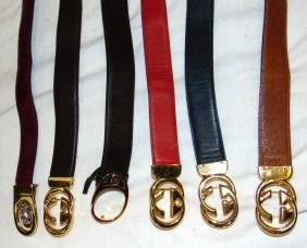 A GROUP OF SIX VINTAGE GUCCI BELTS,  of varying design.