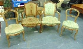 A SET OF FOUR EARLY 20TH CENTURY FRENCH SALON CHAIRS.