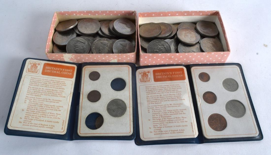 TWO CASED BRITAINS FIRST DECIMAL COINS together with a