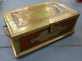 A WOODEN TRUNK WITH BRASS FITTINGS, filled with mixed