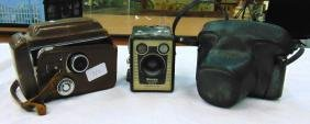 A GROUP OF THREE VINTAGE CAMERA'S, including a Brownie.