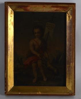 CONTINENTAL SCHOOL (18th Century) Framed oil on tin,