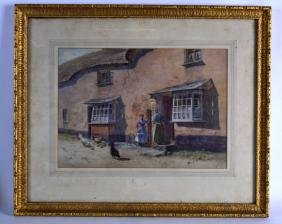 BRITISH SCHOOL, Framed Watercolour, villagers and