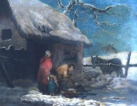 A FRAMED PRINT OF A FAMILY IN THE SNOW, together with a