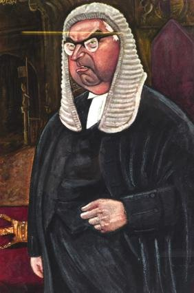 "A FRAMED PRINT OF A WELL FED JUDGE, ""The Right Hon Lord"