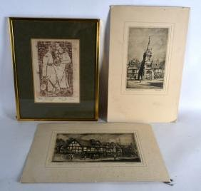 TWO UNFRAMED ETCHINGS, together with another print. (3)