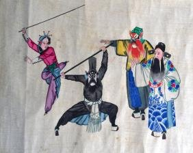 A RARE 19TH CENTURY CHINESE PAINTED PITH PAPER SCROLL