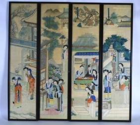 A GOOD SET OF FOUR 19TH CENTURY CHINESE FRAMED