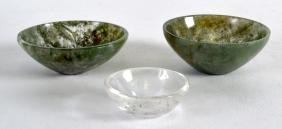 A PAIR OF SMALL CHINESE MOSS AGATE BOWLS together with