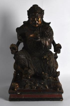 A FINE AND LARGE 19TH CENTURY CHINESE LACQUERED WOOD