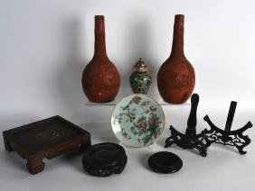 A PAIR OF 19TH CENTURY JAPANESE MEIJI PERIOD REDWARE