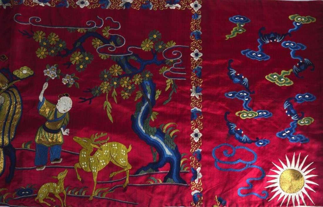 A LATE 19TH CENTURY CHINESE RED SILKWORK PANEL - 4