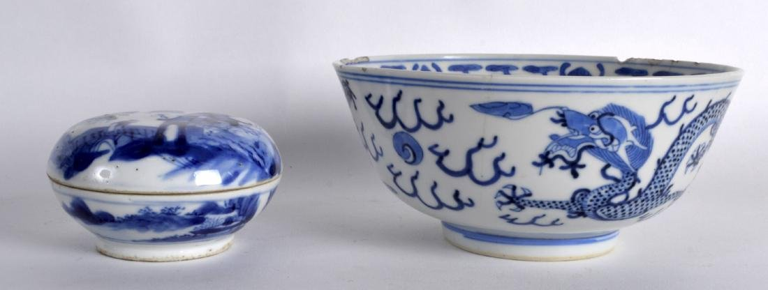 A 19TH CENTURY CHINESE BLUE AND WHITE PORCELAIN ROUGE
