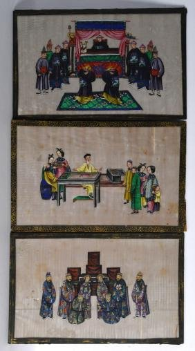Chinese School (19th Century) A Large framed set of six