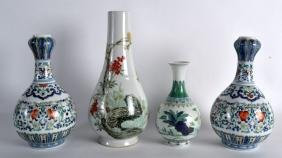 A PAIR OF CHINESE DOUCAI PORCELAIN VASES together with